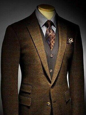 Männer Herren Anzüge (Mode Männer Kaffee 2 Stück Anzüge Smoking Herren Anzüge Hochzeitsanzug EU 44-62)
