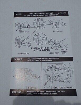 Mopar 72 Satellite Roadrunner GTX Instructions Decal NEW 3595702 DD0278