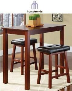 NEW HOMETRENDS 3PC DINING SET INC. 2 STOOLS AND TABLE - COUNTER HEIGHT - WALNUT FINISH - HOME FURNITURE DECOR 105933518