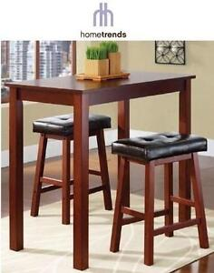 NEW* HOMETRENDS 3PC DINING SET INC. 2 STOOLS AND TABLE - COUNTER HEIGHT - WALNUT FINISH - HOME FURNITURE DECOR