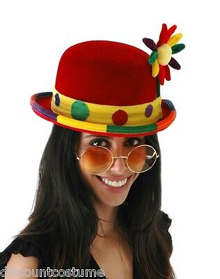 DELUXE QUALITY RED CLOWN BOWLER HAT w/FLOWER ADULT UNISEX ONE SIZE CLOWN HAT