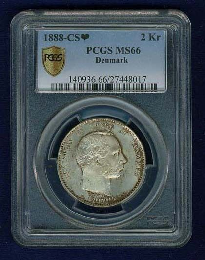 DENMARK CHRISTIAN IX 1888 2 KRONER SILVER COIN, UNCIRCULATED CERTIFIED PCGS MS66