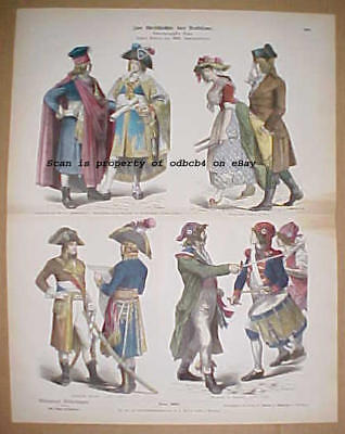 FRANCE French Republic 18th C. Historic Dress Military, Antique 1880s Lithograph