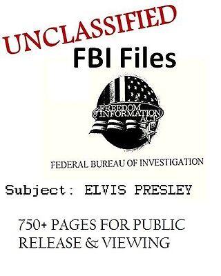 UNCLASSIFIED Elvis Presley FBI FILE, 750+ Research Docs,Director J Edgar
