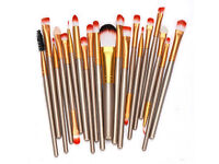 Set of 20 make up brushes. Brand new. Only £10. Free postage. Pretty gold colour.