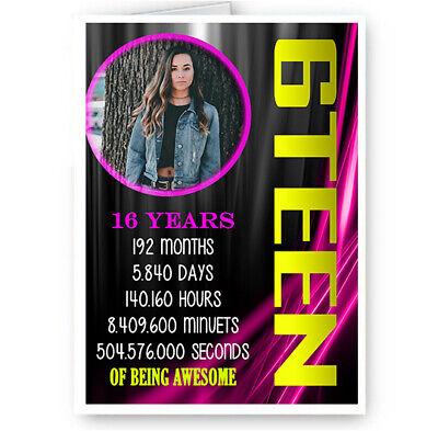 Sweet 16, Sixteen, Personalised Photo, Pink & Black Theme A5 Happy Birthday - Sweet Sixteen Themes