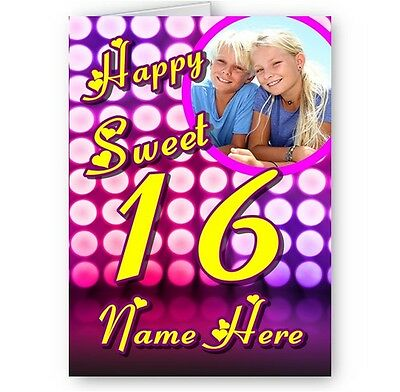 Pink Sweet 16 Themes (Personalised Photo. Name Happy Sweet 16 Girly Pink Theme A5 Birthday)