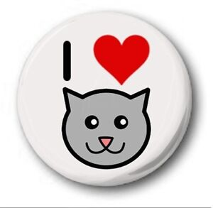I LOVE CATS  - 1 inch / 25mm Button Badge - Novelty Cute