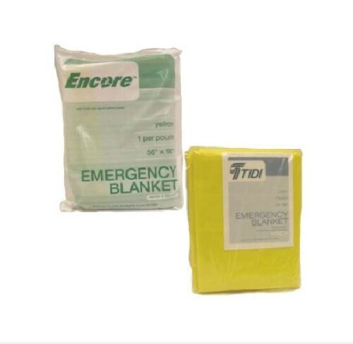 """24 - Emergency Blanket, 2-ply Tissue/Poly, Disposable, Yellow, 56"""" x 90"""", NEW"""
