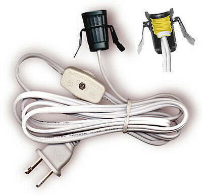 "Lamp Lighting Cord Kit with Candelabra Snap In Socket Fits 1"" hole 6 foot cord"