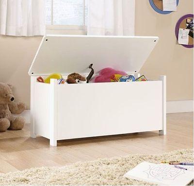 Soft White Kids Toy Chest Wood Box Bin Storage Organizer Child Bedroom Playroom
