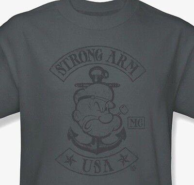 Popeye T-shirt Tee - Popeye T-shirt USA retro classic cartoon vintage 100% cotton grey tee pye725