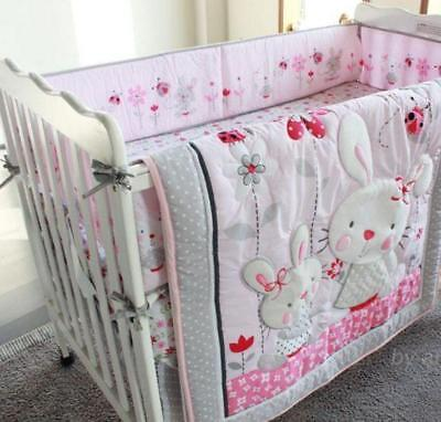 Set Of 4Pcs Angel Rabbit Baby Crib Cot Bedding Quilt Bumper Sheet Dust Ruffle A+ Angel Baby Bedding