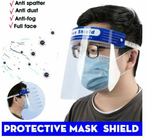 Safety Full Face Shield Clear Protector Work Industry Dental Anti-Fog 2pc+4 musk