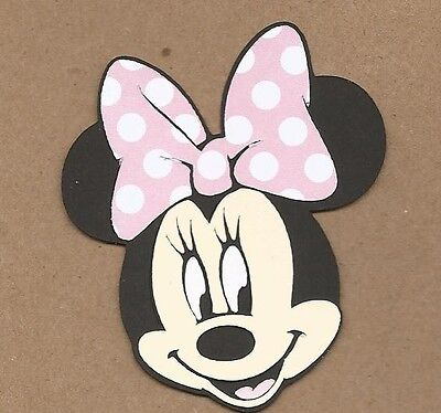 Pink And White Minnie Mouse (1 4 inch Minnie Mouse Head with Pastel Pink and White polka dot Bow Cricut)