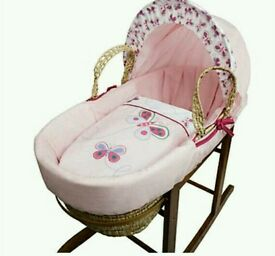 Kinder valley pink Butterfly moses basket. Brand new in sealed packs. 2 left only.