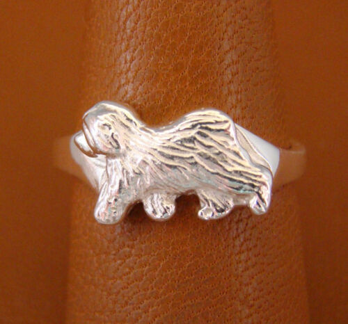 Small Sterling Silver Old English Sheepdog Moving Study Ring