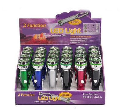 Lot of 24 PCs 7 Led mini Keychain Flashlight with Carabiner Wholesale USA Seller