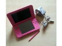 Pink Nintendo 3DS XL console 4GB memory card charger & pen