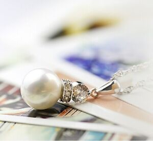 Perlenanhänger Halskette mit schönem Perlenanhänger in Silber NEU