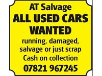 Any used cars £100+ cash today scrap damaged runner salvage or scrap my car scrap a car collection