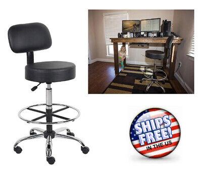 BLACK Medical Spa Drafting Dual Wheel Casters Bar Stool W Back Adjustable Chair Double Adjustable Bar Stool