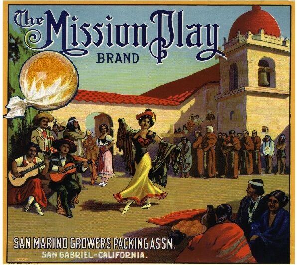 San Gabriel San Marino The Mission Play Orange Citrus Fruit Crate Label Print