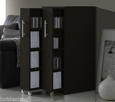 MultiMedia Storage Bookcase Cabinet Book Shelf Wall Shelves DVD Rack Organizer