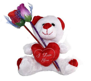 I Love You Teddy Bear Woman Girls Gift Two Ink Pen Roses SweetheartPlush