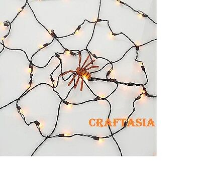Halloween Lit Spider Web with 50 Lights and Spider NEW (Spider Lights Halloween)