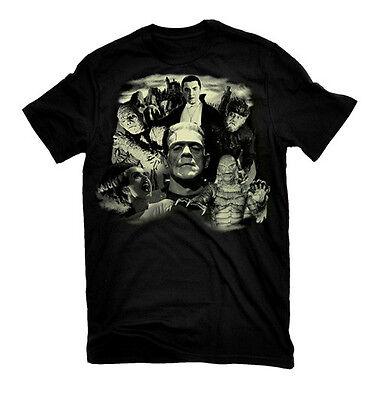 Rock Rebel Mens Glow in the Dark Monster Collage Black T Shirt Licensed