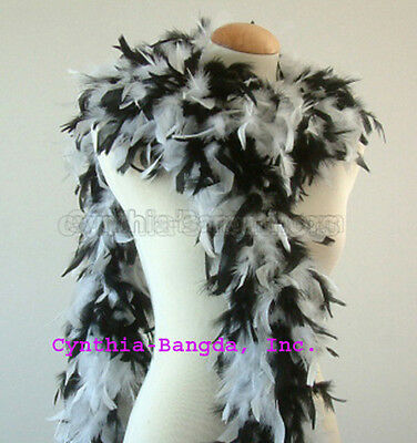 Black / White mixture  65 Grams Chandelle Feather Boa  Party Halloween Costume  - Black And White Halloween Party