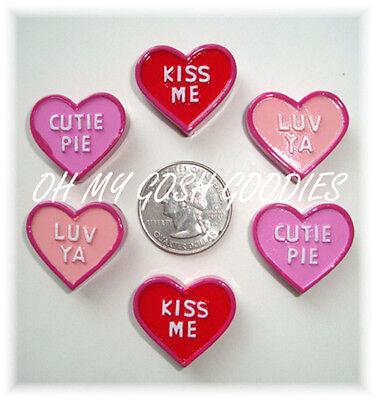 6PC VALENTINE CONVERSATION CANDY HEART FLATBACK RESINS 4 HAIRBOW BOW CENTER ASST](Heart Valentine)