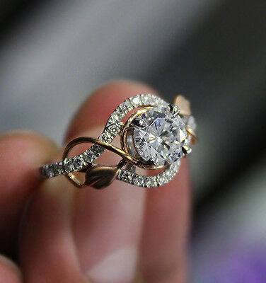1.45 Ct. Natural Round Cut Pave Leaves Design Diamond Engagement Ring GIA Cert 2