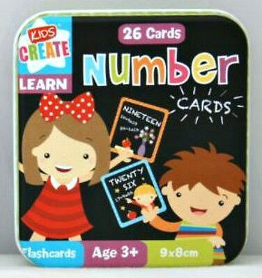 26 x Numbers Cards in tin snap game LEARN FUN Educational Toy 3+ nursery