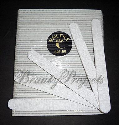 (50pcs) Professional Acrylic Nail File 80/100 Grit Zebra Sanding Files 7