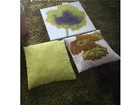Large Lime shaggy rug , wall canvas , 2 cushions