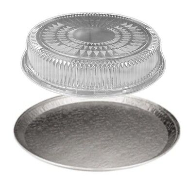 Handi-foil 16 Round Flat Aluminum Catering Serving Tray +clear Dome Lid 10 Sets