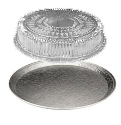 Handi-foil 16 Round Flat Aluminum Catering Serving Tray Clear Dome Lid 10 Sets