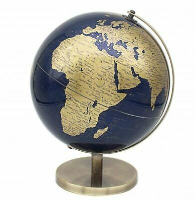 CONTEMPORARY BLUE & GOLD LARGE GLOBE ON METAL BASE ATLAS TABLE DESK ORNAMENT