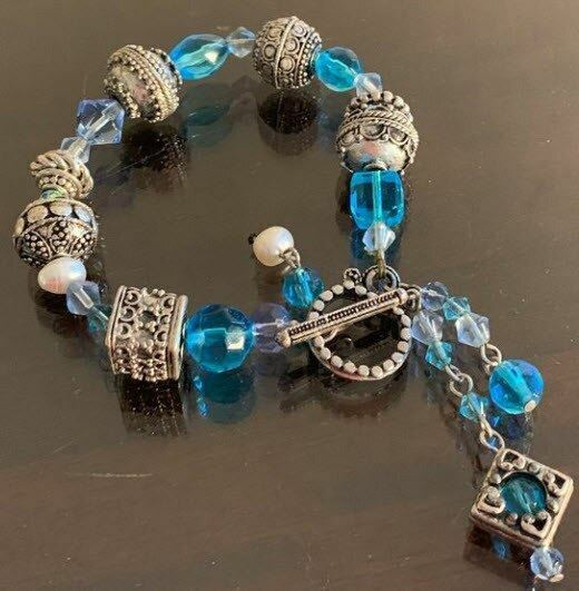 Blue and Silver Costume Bracelet