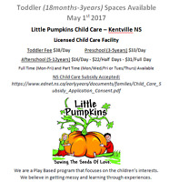 TODDLER SPACES AVAILABLE MAY 1ST