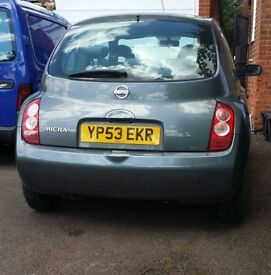 Nissan micra 2003, mot Aug 2017,full service history,new front tyres,new battery