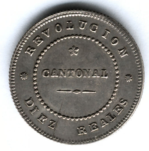 Revolution Cantonal Cartagena 10 Reales 1873 @@ Excellent @@