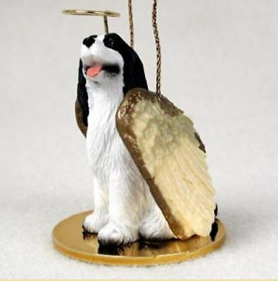 SPRINGER ( BLACK WHITE) ANGEL DOG CHRISTMAS ORNAMENT Figurine Statue Memorial