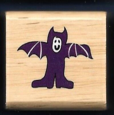 BAT COSTUME WINGS HALLOWEEN HOLIDAY GIFT Tag Craft Wood SMALL RUBBER STAMP ](Small Halloween Gift Tags)