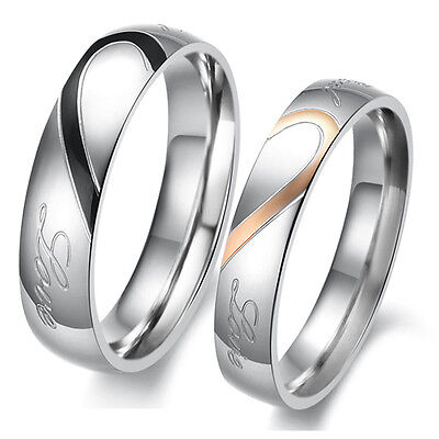 Heart Shape Matching Titanium Steel Lovers Promise Ring Couple Wedding Bands