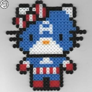 Hello Kitty Captain America Bead sprite perler pixel