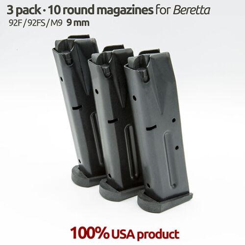 3 Magazines for Beretta 92f,92FS,M9 9MM 10 Round Blue Steel
