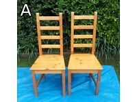 Chairs (A) Pine High Back - £7 for the pair